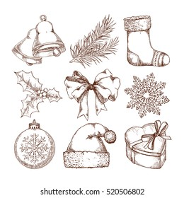 Christmas icons hand drawn sketch set. Isolated retro holidays object, symbol, element