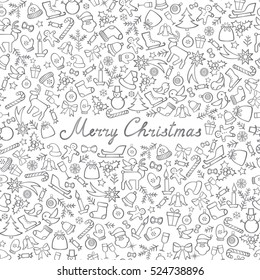 Christmas Icons Seamless Pattern. Happy Winter Holiday Wallpaper. Doodle Greeting Card with handwritten Lettering MERRY CHRISTMAS