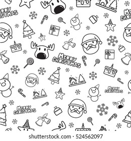 Christmas icons seamless pattern isolated on white background
