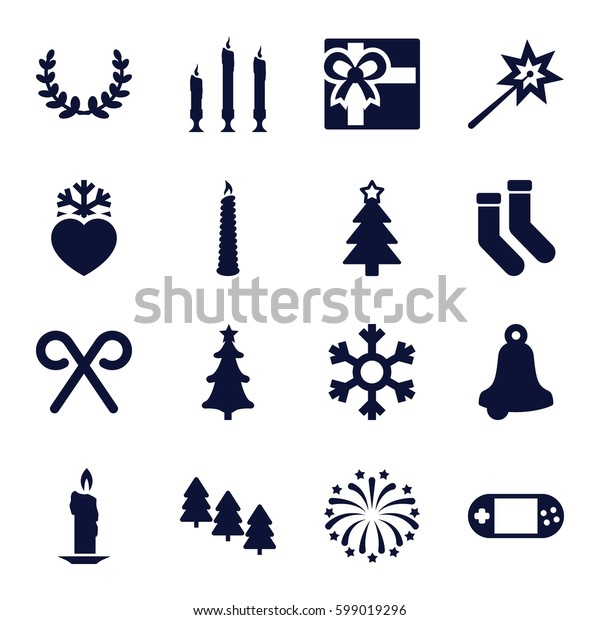 christmas icons set. Set of 16 christmas filled icons such as pine tree, gift, socks, Christmas tree, heart frozen, portable console, candy cane, fireworks, candle, snowflake