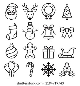 Christmas icons set. Vector illustrations.
