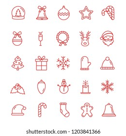 Christmas icons. Set of Winter Holiday outline icons