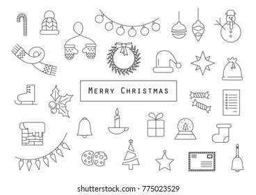 Christmas icons. simple line icons perfect for cards, web, magazines.