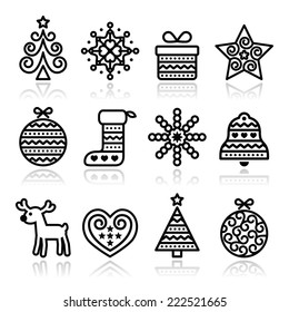 Christmas icons with stroke - Xmas tree, present, reindeer