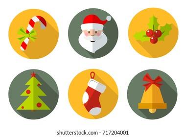 Christmas icons and symbols. Christmas candy, Santa, Christmas tree, sock, Christmas bell