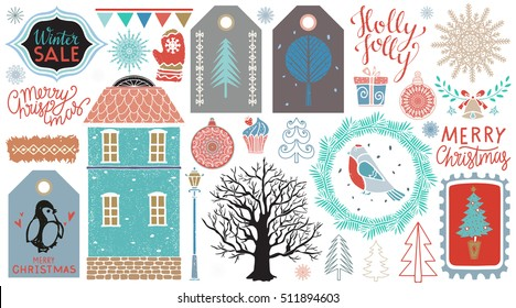 Christmas icons, tags, patches, stickers, labels. Handwritten font. Hand drawn cartoon trees, snowflakes, birds, gift box, balls, bell, flags, house, mittens, lamp, cake