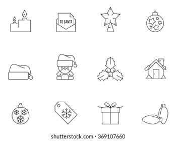 Christmas icons in thin outlines.