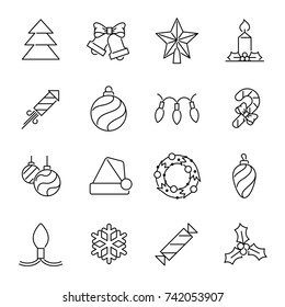 Christmas icons - Christmas tree and decorations