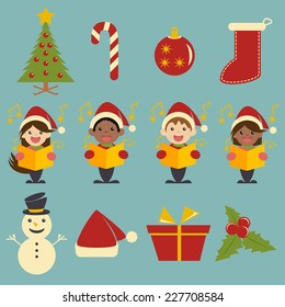 Christmas icons, vector illustration set collection