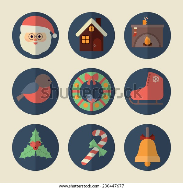 Christmas icons. Vector set, flat design, EPS 10.