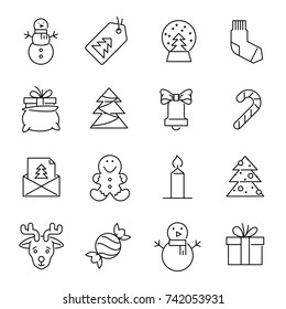 Christmas icons -Xmas tree, snowman and gifts