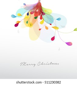 Christmas illustration with abstract colorful flower.