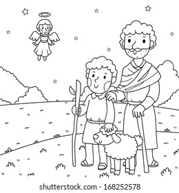 Christmas illustration. The angel and the shepherds