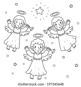 Christmas illustration, the angels and the stars, coloring, vector.