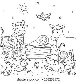Christmas illustration. Baby Jesus and animals