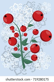 Christmas illustration with berries of mountain ash surrounded by snowflakes for winter mood
