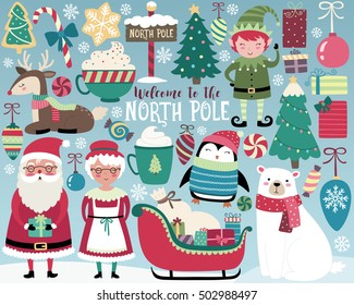 Christmas Illustration, Cute North Pole Vector Set, Santa and Cute Holiday Design Elements