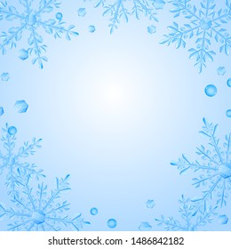 Christmas illustration with frame of large complex translucent snowflakes on white background. Transparency only in vector format