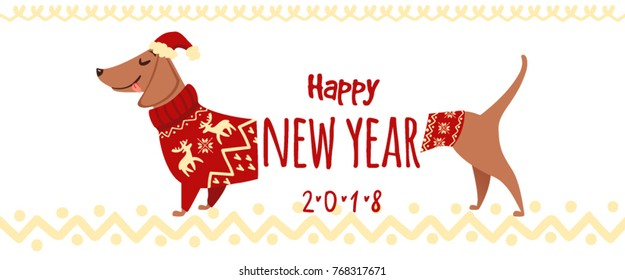 Christmas illustration with funny dachshund dog. Vector puppy with red sweater and hat. Happy New Year 2018 collection. Winter design. Happy holidays template. Cartoon animal. Xmas 2018 card on white.