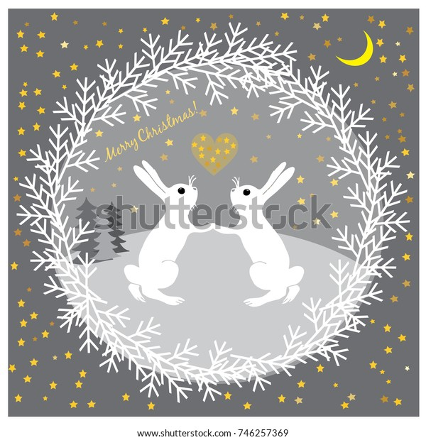 Christmas illustration with funny hares