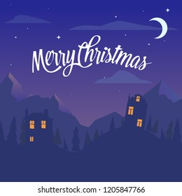 Christmas illustration. The inscription Merry Christmas on a dark background. Snowy village among the mountains and forest on Christmas night. Happy new year holyday gift card.