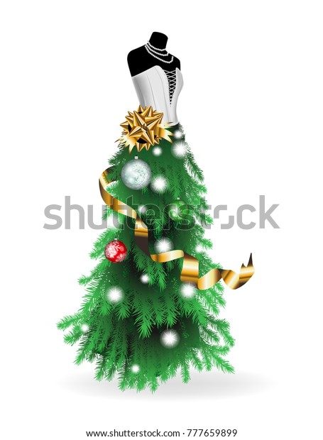 Christmas Tree Mannequin Dress.Christmas Illustration Mannequin Dress Made Christmas Stock