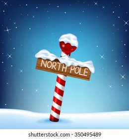A Christmas illustration of a north pole wooden sign
