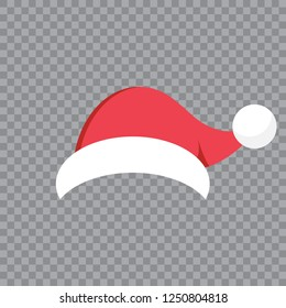 Christmas illustration with red santa hat on transparent background.