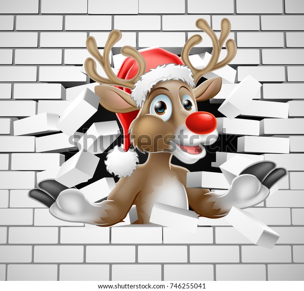A Christmas illustration of Reindeer in Santa Hat cartoon character breaking through a wall background