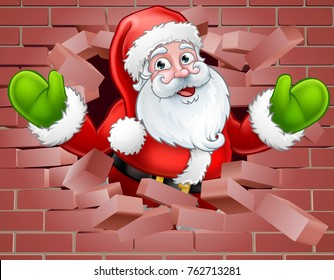 A Christmas illustration of Santa breaking through a wall background