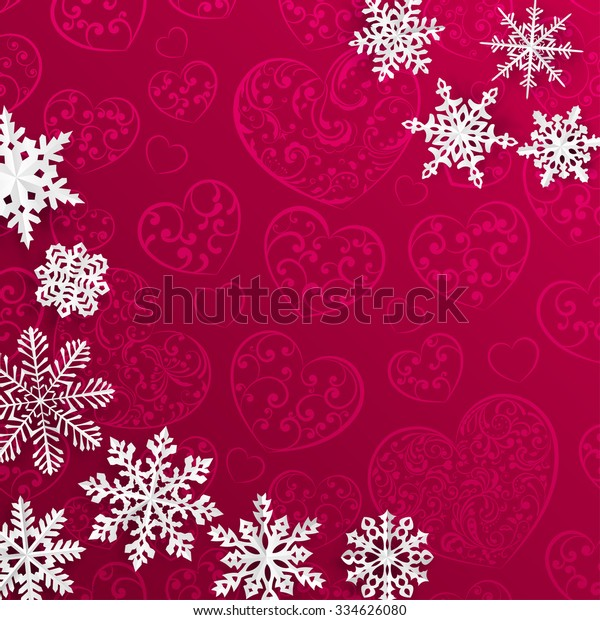 Christmas illustration with snowflakes on background of hearts in red colors