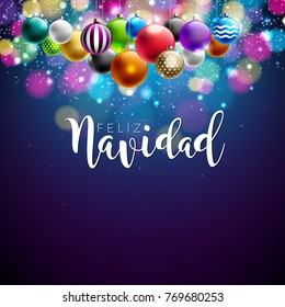 Christmas Illustration with Spanish Feliz Navidad Typography and Colorful Ornamental Ball on Shiny Blue Background. Vector Holiday Design for Premium Greeting Card, Party Invitation or Promo Banner.