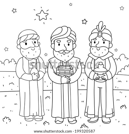 Christmas Illustration Three Wise Men Coloring Stock Vector Royalty