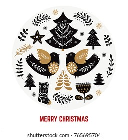 Christmas illustration with traditional symbols in Scandinavian style