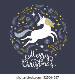 Christmas illustration with unicorn, merry christmas