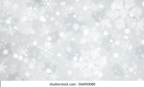 Christmas illustration with white blurred and clear snowflakes on gray background