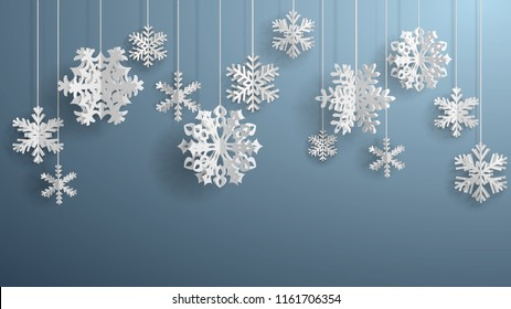 Christmas illustration with white three-dimensional paper snowflakes hanging on gray background