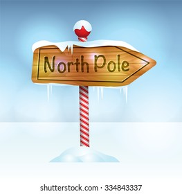 A Christmas illustration of a wooden sign in snow pointing to the North Pole. Vector EPS 10 available. EPS file contains transparencies.