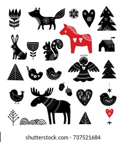 Christmas illustrations, hand drawn elements in Scandinavian style
