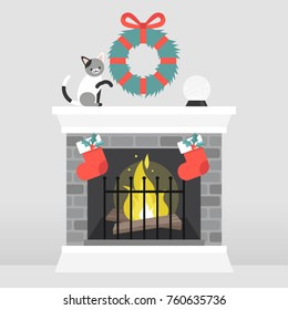 Christmas interior. Decorated fireplace. Cat playing with a wreath. Crystal ball. Winter seasonal decor. Flat vector illustration, clip art