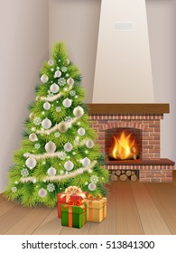 Christmas Interior with fir tree, brick fireplace and gift boxes. Vector realistic illustration. Background for xmas greeting card.