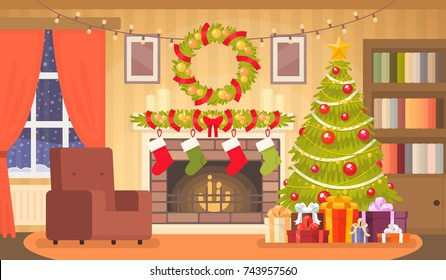 Christmas interior of the living room with a Christmas tree, gifts and a fireplace. Vector illustration in a flat style