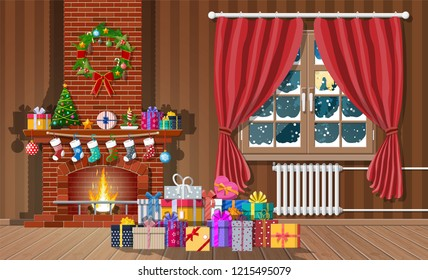 Christmas interior of room with window, gifts and decorated fireplace. Happy new year decoration. Merry christmas holiday. New year and xmas celebration. Vector illustration flat style
