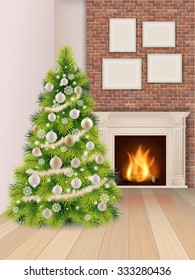 Christmas interior with christmas tree decorated balls and a burning fireplace. Vector illustration.
