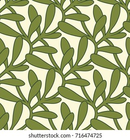 Christmas Interlaced Mistletoe Leaves Seamless Pattern - Great for Christmas and Winter Projects, Wrapping Paper, Backgrounds, Wallpapers.