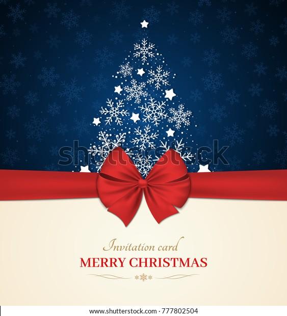 Christmas Invitation Card Bow Red Ribbon Stock Vector (Royalty ...