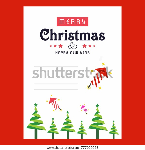 Christmas Invitation Card Tree Abd Red Stock Image | Download Now