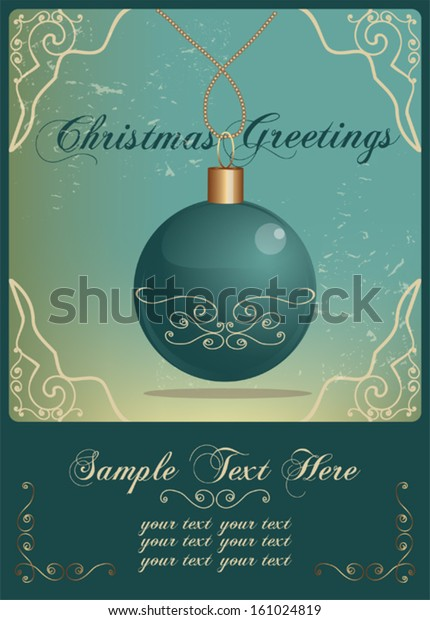 Christmas Invitation Card Vintage Style Stock Vector (Royalty Free ...