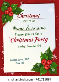 Christmas invitation with satin ribbons.