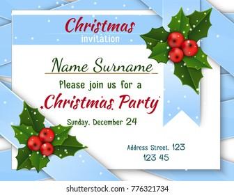 Christmas invitation with satin ribbons.
